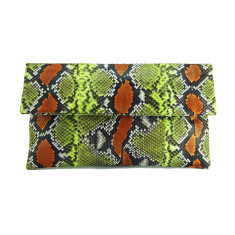 Orange lime motif python leather classic foldover clutch (II)