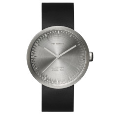 LEFF Amsterdam tube watch D42 with black leather strap steel finish