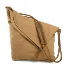 Canvas cross body bag with leather straps