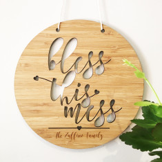 Bless this mess personalised bamboo wall hanging