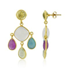 Multi Pear Drop Gemstone Earrings