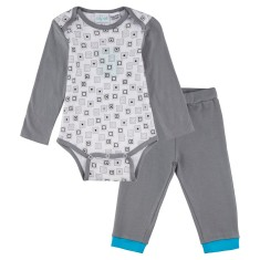 Inside the box long sleeve onesie with grey pants