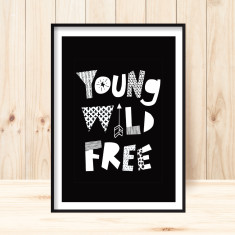 Young, wild, free children's art print