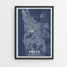 Perth map print (various colours)