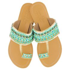 Girls' leather sandals in blue/green