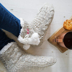 Personalised Cable Knit Embroidered Slippers