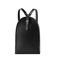 Black leather urban backpack