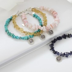 Gemstone Bracelet with Sterling Silver Zodiac Charm