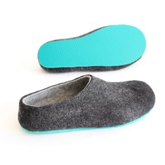 Men's Felt Slippers in Eco Charcoal Black