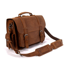 Full Grain Leather Satchel Bag With Side Pockets In Tan