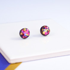 Circle glitter earrings - blue, red and gold