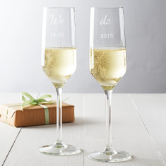 Personalised We Do Wedding Champagne Flute Set