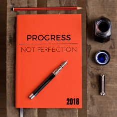 Progress Not Perfection - luxury leather 2018 diary