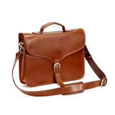 TheCompanion Thin Briefcase Leather Messenger Bag In Tan - 16