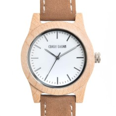 Woodward maple wood and suede watch