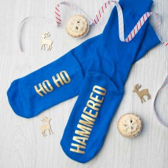 Personalised Cobalt Blue & Canary Yellow Christmas Day Socks