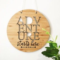 Adventure starts here bamboo wall hanging