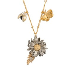 Daisy and butterfly long necklace
