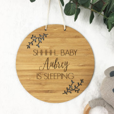 Baby Is Sleeping Personalised Bamboo wall hanging