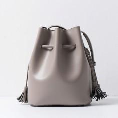 Grey leather bucket handbag