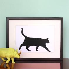 Walking Cat Silhouette Print