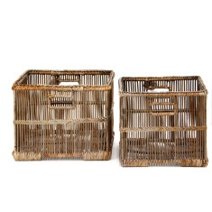 Hemingway Watercane Square Baskets Set of 2