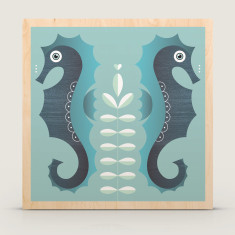 Seahorses wood block print