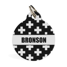 Personalised pet ID tag standard (monochrome cross)