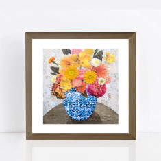 Summer flowers in blue vase limited edition giclee print