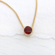 Garnet Necklace in 18ct Gold, January Birthstone
