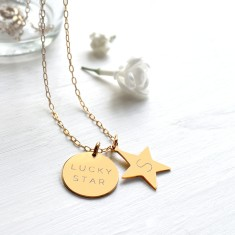 Personalised Gold Lucky Star Disc and Initial Star Necklace
