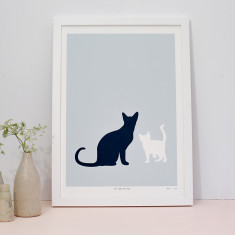 Cat and kitten limited edition screenprint