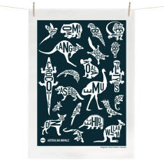 Australian Animals tea towel