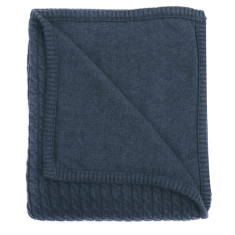 Cable knit cotton baby blanket in indigo marle