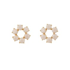 Six stones small earrings – Beige Pink Diamantine
