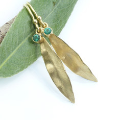 Emerald Earrings in 18ct Gold Leaf Design