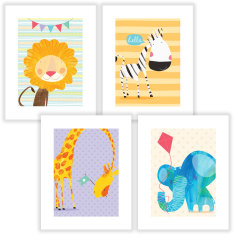 Animal antics wall art prints (set of 4)