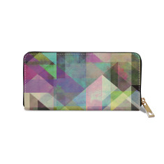 Colour Blocking Geometric Vegan Leather Wallet Purse