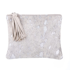 Jem Clutch In Silver Calf-hair/leather