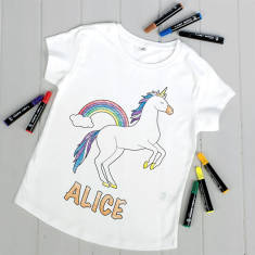 Personalised Colour Your Own Unicorn T Shirt Kit