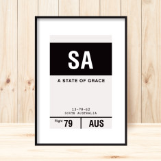 South Australia luggage tag art print (more colours)