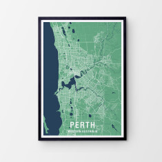 Perth two-tone map print (various colours)