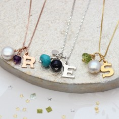 Personalised Birthstone Gemstone and Letter Charm Necklace