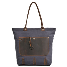 Grey Canvas Tote Bag With Leather Front Pocket