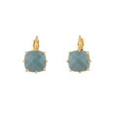 Small square blue/grey stone diamantine earrings