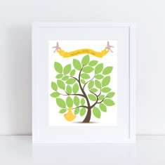 Gender neutral baby shower signature guest book tree print