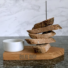 Personalised oak Bread Boat with ceramic dipping bowl