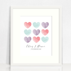 Watercolour Hearts love print