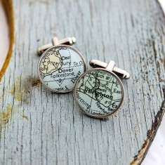 Personalised Circular Map Cufflinks