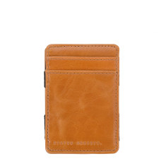 Flip leather wallet in tan